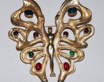 1980s Era Cast Gold Tone Human Butterfly Pin-- Free US Shipping!