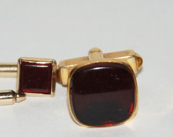 1950s Era Deep Blood Red Formal Tuxedo Shirt Studs and Swank Links -- Free USA Shipping!