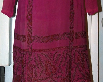 Vintage 1920s Era Original Flapper Beaded Silk Dress -- Free USA Shipping!