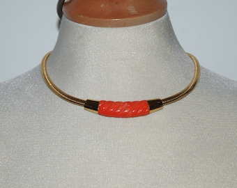 1970s Era Gold Tone Coil Choker Necklace with Faux Coral Center -- Free USA Shipping!