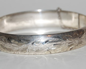 Vintage 1950s-'60s Mid Century Sterling Silver Hinged Bracelet by Forstner  --  Free USA Shipping