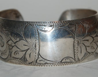 Vintage 1950s Mid Century Sterling Silver Cuff Bracelet  -- Free USA Shipping