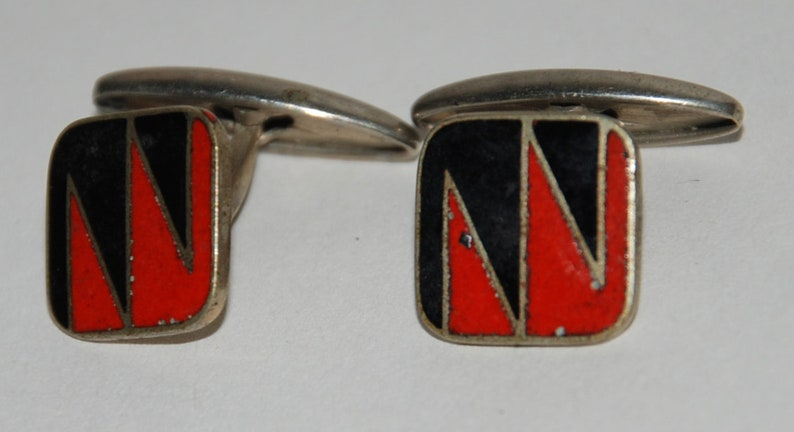 1950s era Enamel Art Deco Cuff Links  Free USA Shipping image 0