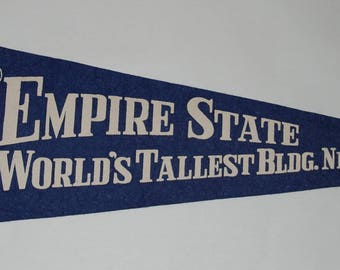 1940s-50s era Empire State Building New York City Souvenir Felt Pennant  — Free Shipping!
