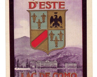 Original Unused Luggage Steamer Trunk Label:  Villa D'Este Lac de Como Cernobbio (Lake Como, Italy) -- Free Shipping!