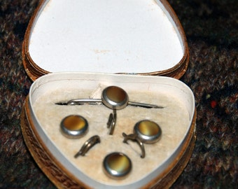 1930s Era Waistcoat or Vest Buttons and Stock Pin Set -- Free US Shipping!