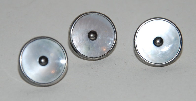 1930s Era Sterling Silver /& Mother of PearlAbalone Vest ButtonsStuds  \u2014 Free USA Shipping!