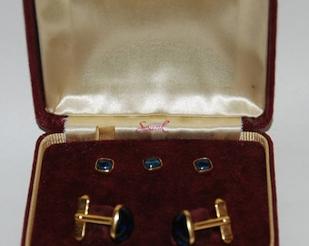 1950s-'60s era Swank Formal Tuxedo Dress Shirt Studs and Cufflinks Set -- Free USA Shipping!