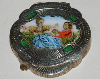 Vintage Italy Gilt Pill Box with Romantic Enameled Scene   --  Free USA Shipping
