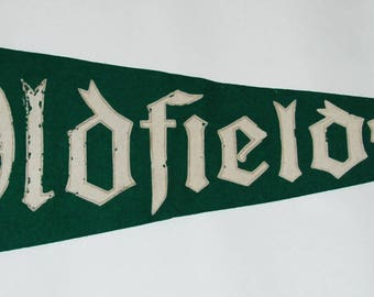 1940s-50s era Oldfields Girls' Boarding School Felt Pennant — Free US Shipping!