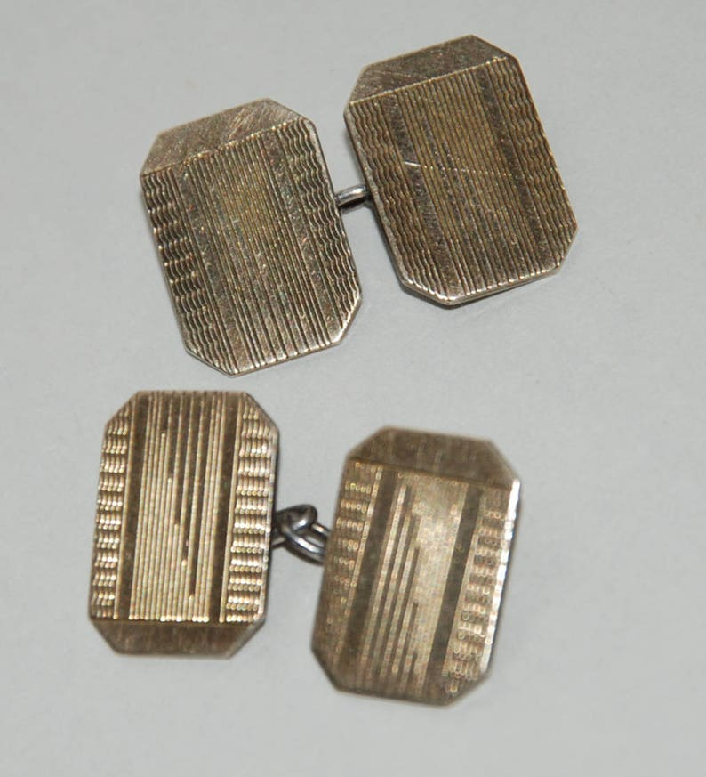 1930's era Art Deco 9 CT Gold Fronts on Silver Double image 0