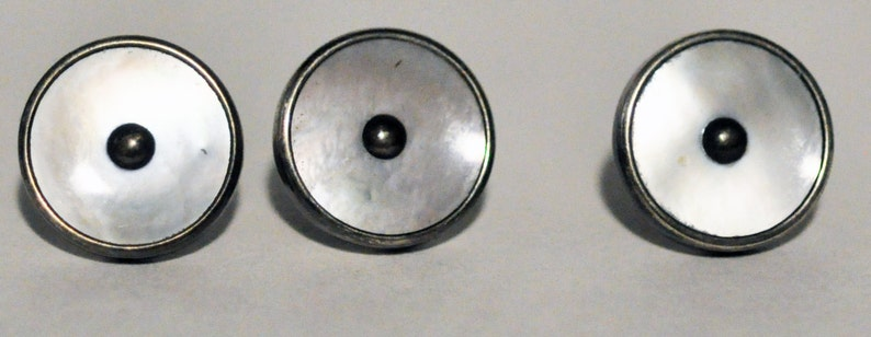 1920s Era Silver and Mother of Pearl Waistcoat or Vest Buttons image 0