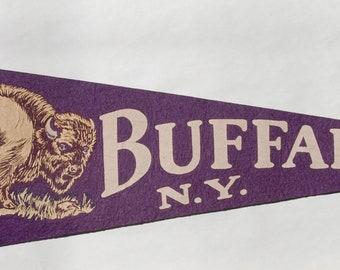 Original Vintage 1950s era Buffalo NY Souvenir Felt Pennant — Free Shipping!