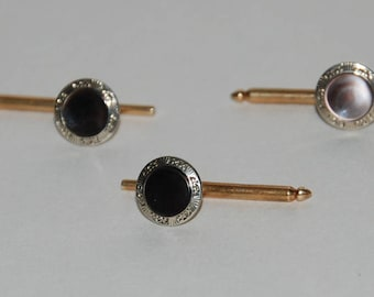 1930s era 14K/10K Gold Set of Three Formal Shirt Studs -- Free USA Shipping