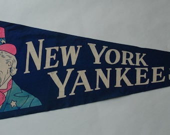 1950s-'60s era New York Yankees Baseball Team Souvenir Felt Pennant — Free US Shipping!