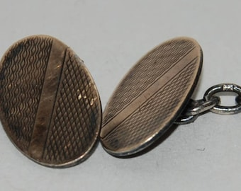 Oval Cuff Links 1930s era Art Deco Sterling Silver  -- Free US Shipping!