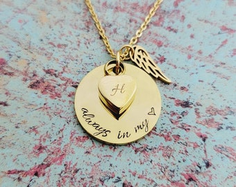 Gold Cremation Locket Memorial Necklace - Locket for Ashes - Urn Necklace - Stainless Steel Gold Locket - Always in my heart  - Pet Loss Urn