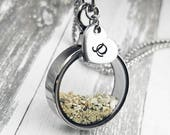 Cremation Memorial Necklace - Locket for Ashes - Urn Necklace - Glass Locket - Hair Locket - Personalized With Initial - Pet Loss Urn Charm