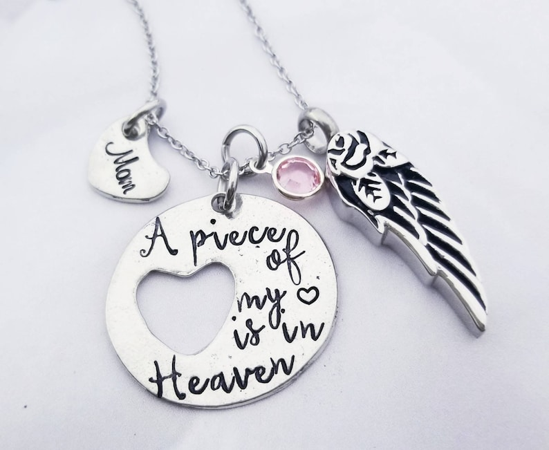 Custom A Piece of My Heart is in Heaven Initial Charms Silver Lobster Bracelet