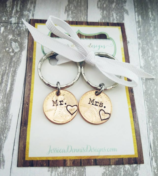 Mr. & Mrs. Penny Key Chain Set Wedding Gift Wedding YEAR Pennies His and Her's Anniversary Gift Choose any penny year Bridal Shower Gift