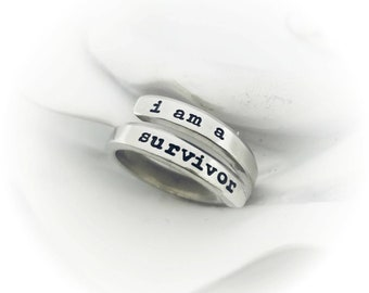 I Am A Survivor Skinny Wrap Ring - Custom Ring - Adjustable Wrap Ring - Inspirational Jewelry Cancer Survivor Gift - Friend Gift Chemo Gift