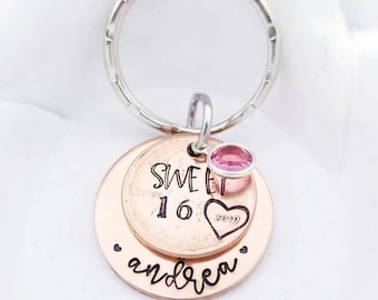 Personalized Sweet 16 Penny Keychain - Sweet 16 Gift - 16th Birthday Keychain - Custom Penny Keychain - Teen Girl Gift- New Car Accessories