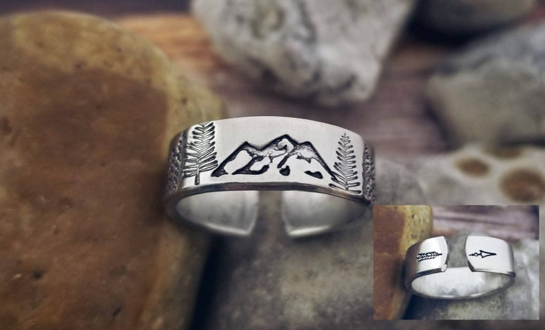 Mountain Ring Adjustable Stamped Girlfriend Gift