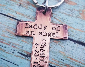 Daddy of an Angel Rustic Cross Key chain- Dad Gift - Child Loss Gift - Gifts for Him - Personalized Memorial Gift - Custom Sympathy Gift