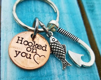 Anniversary Gift Hooked On You Penny Keychain Gifts for him - First Anniversary Gift Fishing Key chain- Husband Gift Custom Fish Hook Gift