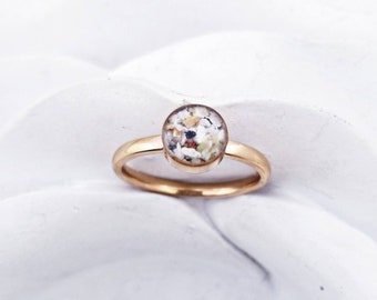 6mm Cremation Ring 14k Gold / Rose Gold Plated Stacking Rings Memorial Ring Pet Ash Ring Cremation Jewelry  Cremation Pet Loss Memorial Gift