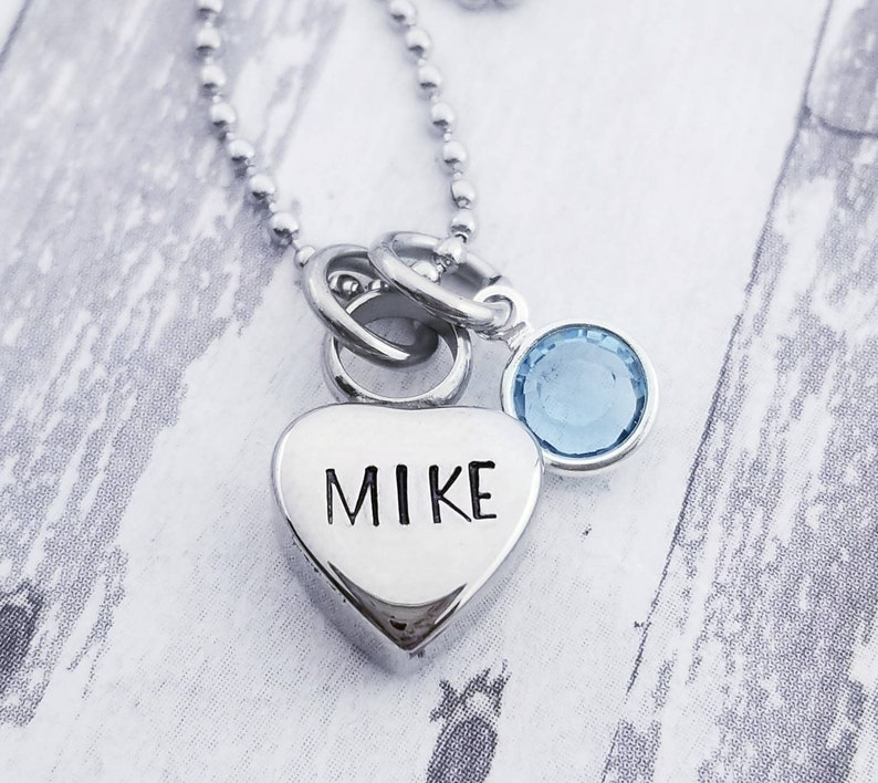 28238e8406a49 Personalized Cremation Necklace - Custom Made Urn necklace - Heart Necklace  - Memorial Necklace Birthstone Necklace for Ashes Memorial Gift