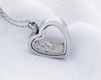 SALE Heart Cremation Locket Necklace Clear Glass Urn Locket Stainless Urn Necklace Fillable Jewelry for sand or ashes Hair necklace Memorial