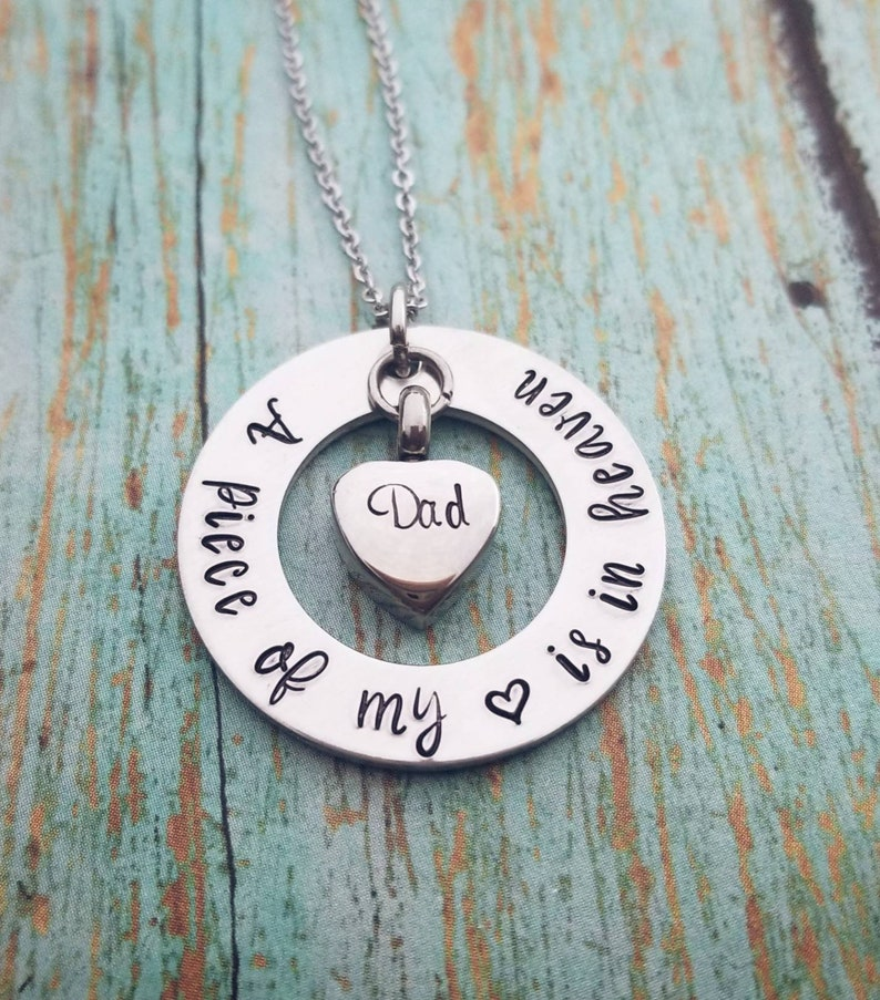 4fb4c879e59aa Personalized Cremation Necklace Cremation Washer Necklace Memorial Jewelry  Sympathy Gift A piece of my heart is in heaven Cremation Jewelry