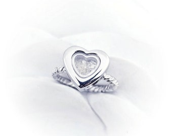 Cremation Ring - Locket Heart Ring - Heart Urn Ring Cremation Jewelry -Dad Memorial Ring- Child Loss Ring -Mom Memorial Jewelry Twisted