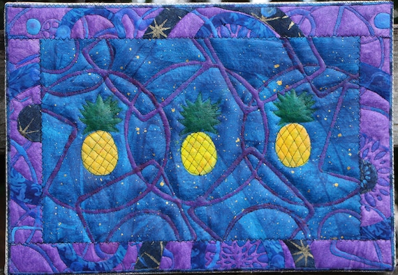 Triple Pineapple Paradise on Blue Quilted Acrylic Artwork