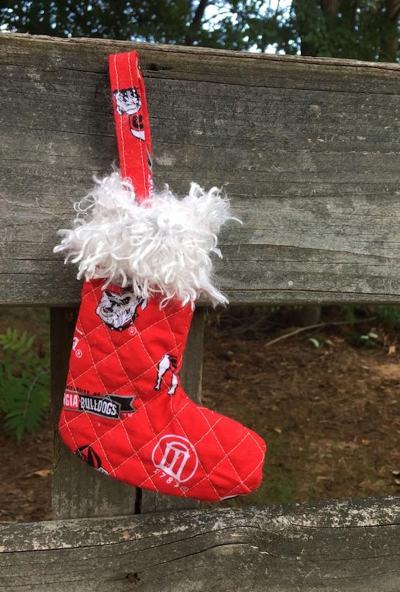 Red Georgia Bulldog Stocking Ornament
