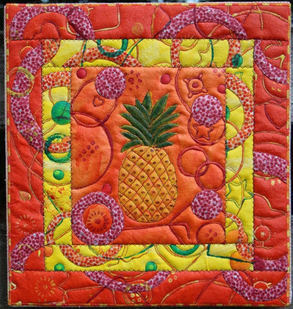 Pineapple on Orange Quilted Acrylic Artwork