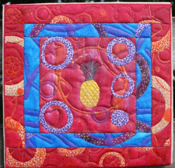 Pineapple on Red Quilted Acrylic Artwork