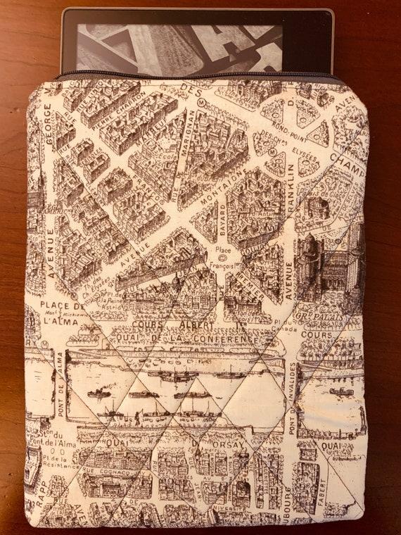 """Parisian Map 8"""" Tablet Padded Zipper Bag (iPad Mini, Kindle, etc.)"""