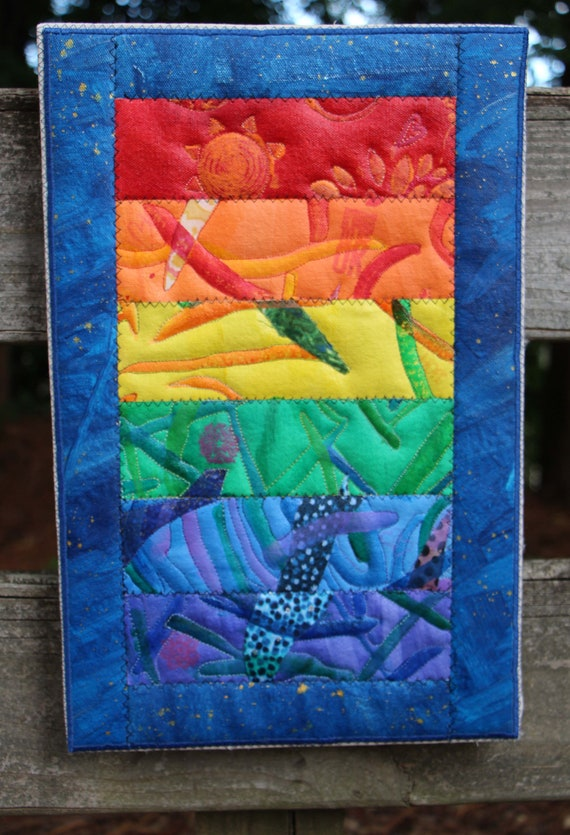 Quilted Acrylic Rainbow with free rainbow heart