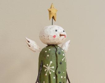 Green Snow Angel Primitive Folk Art Wood Carving