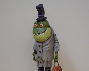 Frankenfrog Primitive Folk Art Halloween Woodcarving