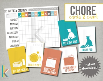 Chore Cards & Editable Chart, Digital Files, Instant Download