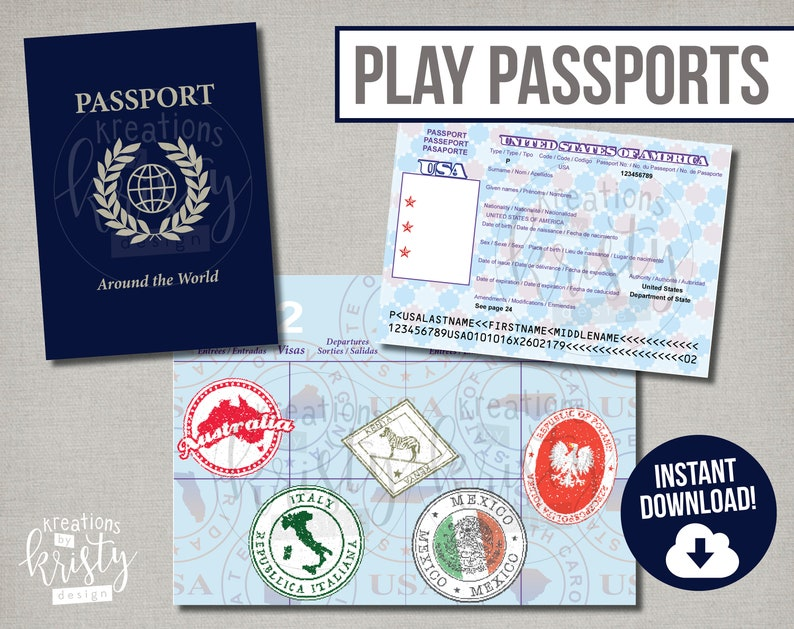image about Printable Passports for Kids referred to as Perform or Faux Pports with chosen nation stamps, Electronic Record, Instantaneous Down load