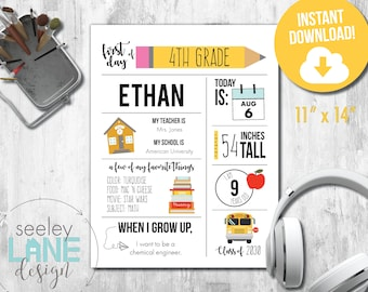 """Printable First and Last Day of School Signs with Child Details, 8""""x10"""", 11x14"""", Instant Download, Digital File"""