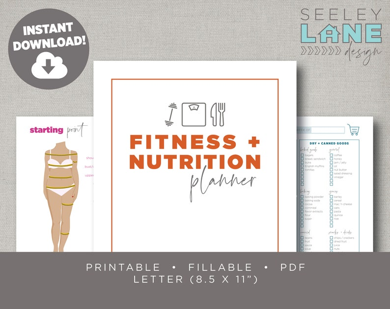 Fitness  Nutrition Planner with Form Fields Printable image 0