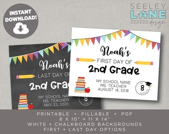 Printable and Fillable First and Last Day of School Signs, Instant Download, Digital File