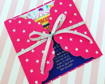 Girl Circus Invitations / Circus Birthday Invitations / Carnival Circus Party Invitation / Hot Pink Circus Invites Girl