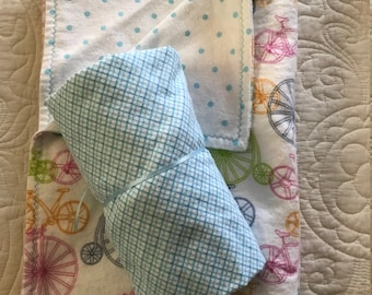 Granny Kit (Pack and Play Sheet and Play Mat/Snuggle Blanket) - Bicycles - Flannel