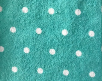 Pack and Play Sheet - Turquoise with White Polka Dots - Flannel
